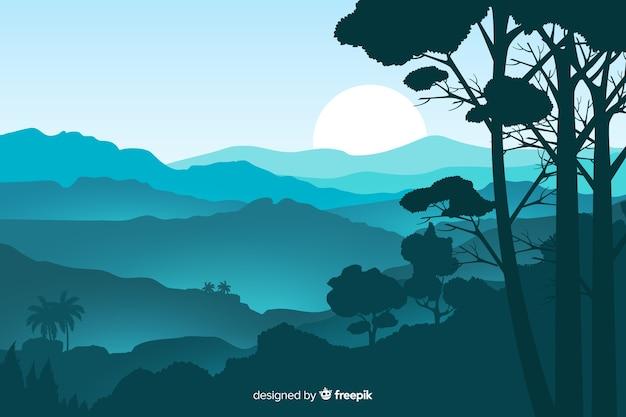 Естественный фон с горным ландшафтом Бесплатные векторы