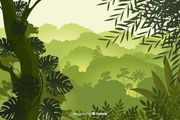 熱帯林の風景と自然な背景 無料ベクター