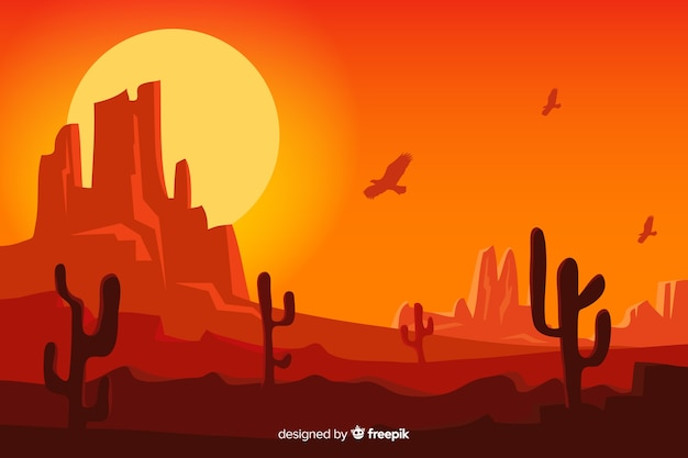 Естественный фон с пустынным ландшафтом Бесплатные векторы