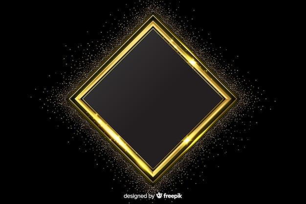 黄金の幾何学的図形と豪華な背景 無料ベクター