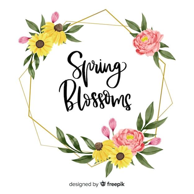 花柄のデザインで春の花フレーム 無料ベクター