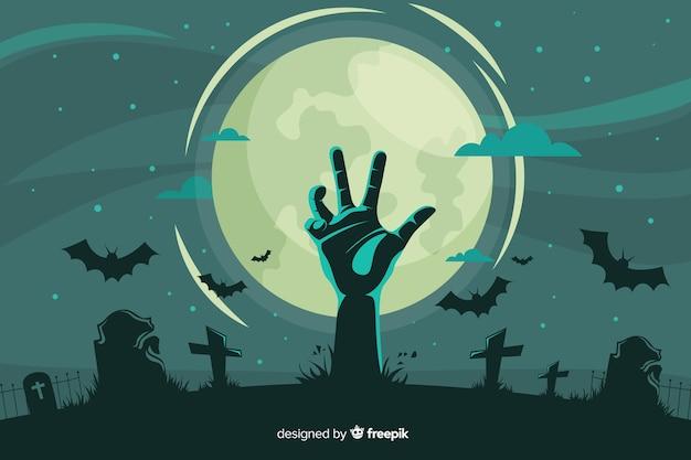 Декоративный фон хэллоуин плоский стиль Бесплатные векторы