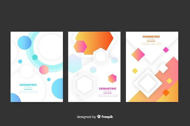 Пакет с геометрическим дизайном обложек Бесплатные векторы