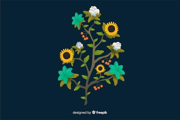 フラットなデザインのカラフルな花の枝 無料ベクター