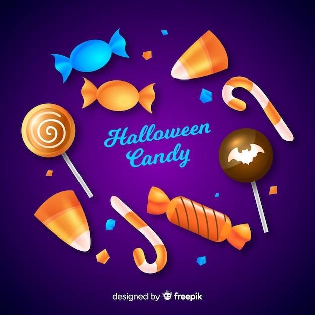 Коллекция реалистичных хэллоуинских сладостей Бесплатные векторы