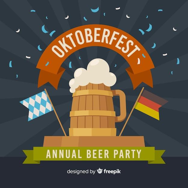 ビールとフラットなデザインオクトーバーフェスト背景 無料ベクター