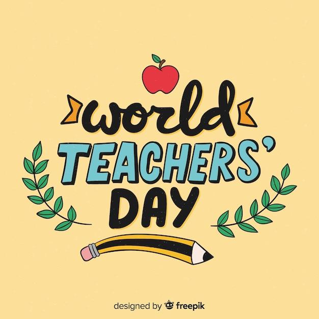 世界教師の日のレタリングの背景 無料ベクター