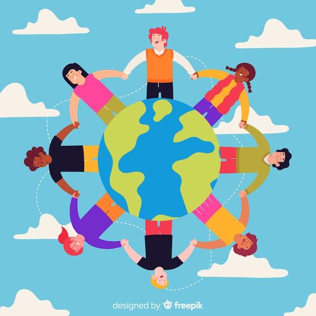 単語平和日の背景の周りに手を繋いでいる子供たち 無料ベクター