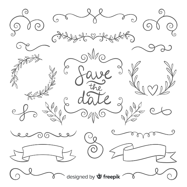 Ручной обращается коллекция свадебных украшений Бесплатные векторы