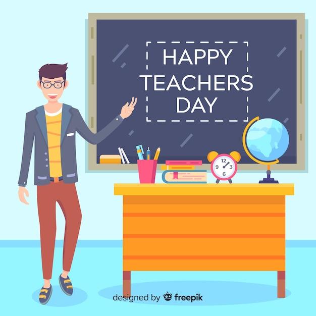 教室で教師とフラット世界教師の日 無料ベクター