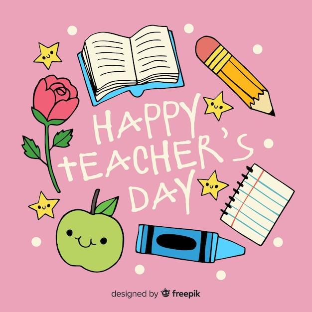 学用品と手描きの世界教師の日 無料ベクター