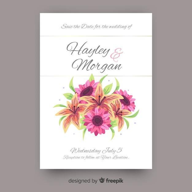 結婚式の招待状テンプレート花の詳細 無料ベクター