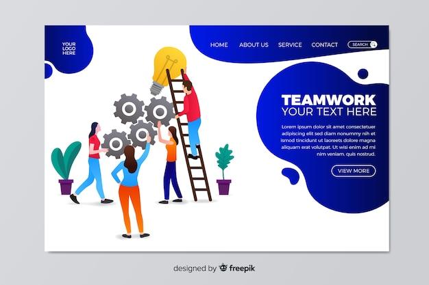 フラットなチームワークのランディングページテンプレート 無料ベクター