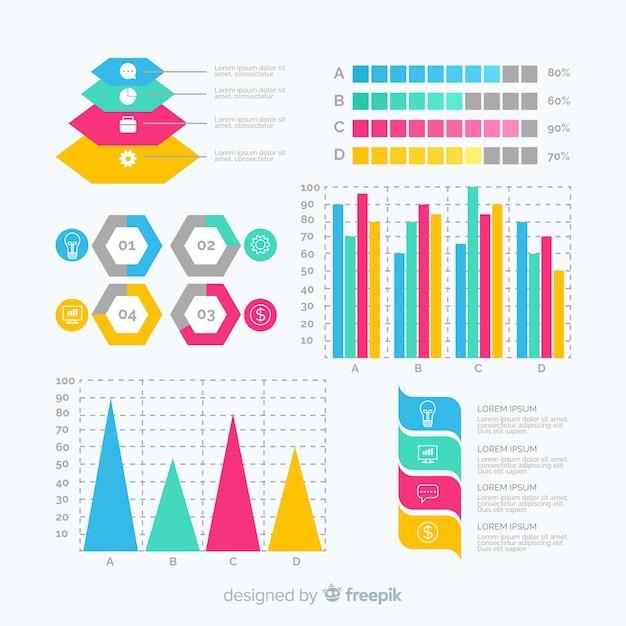 Плоский инфографики элемент коллекции шаблонов Бесплатные векторы
