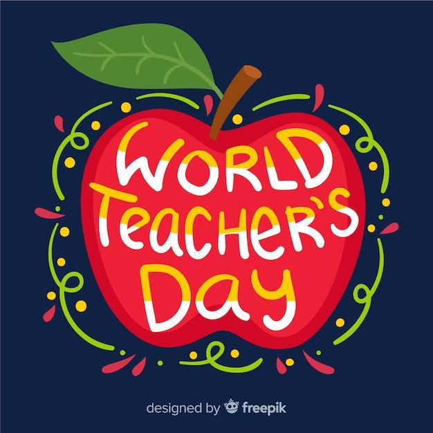 世界教師の日レタリング 無料ベクター