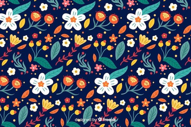 美しい花のデザインの背景 無料ベクター
