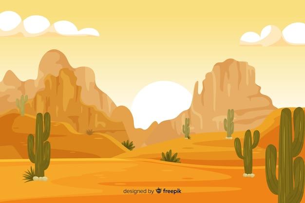 サボテンと砂漠の風景の背景 無料ベクター