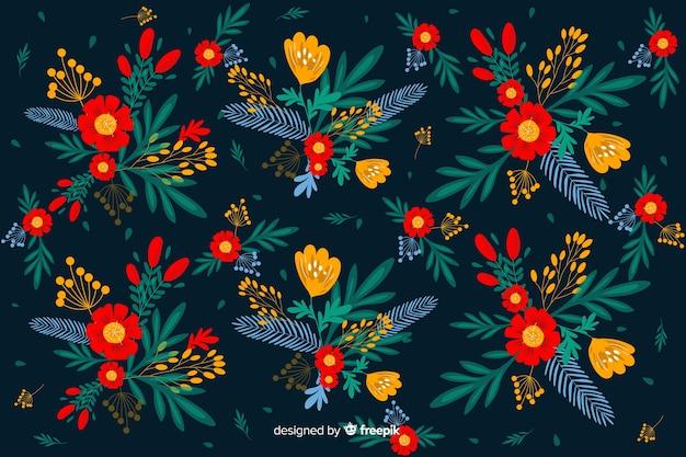 繰り返しフラット美しい花の背景 無料ベクター