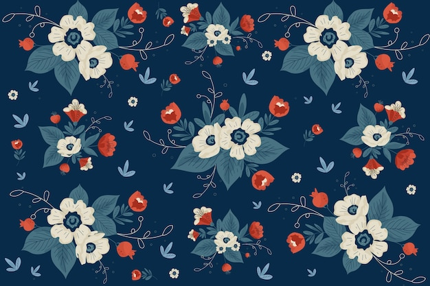 青い色合いの平らな美しい花の背景 無料ベクター