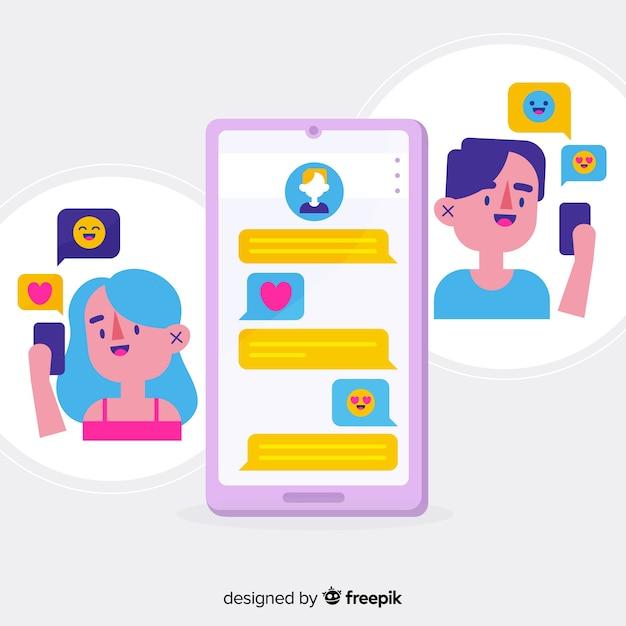 イラスト付きの出会い系アプリのコンセプト 無料ベクター