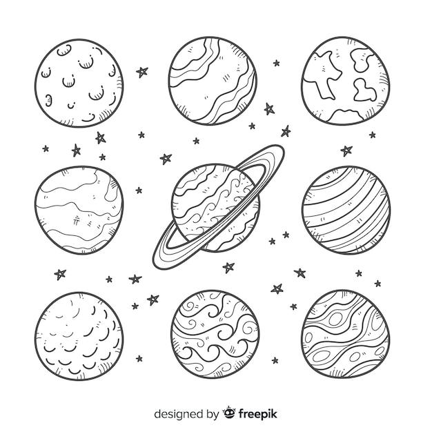 Набор каракули в стиле космических наклеек Бесплатные векторы