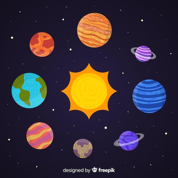 手描きの惑星のステッカーのコレクション 無料ベクター
