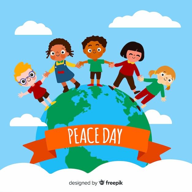 手を繋いでいる子供の平らな平和の日 無料ベクター