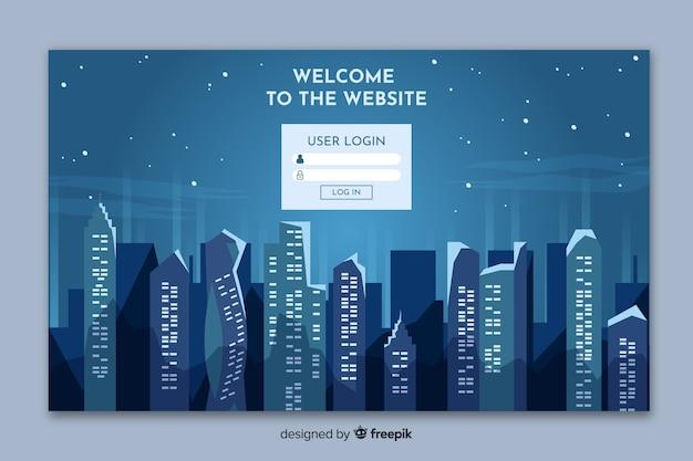 都市のスカイラインフォームを含むランディングページ 無料ベクター