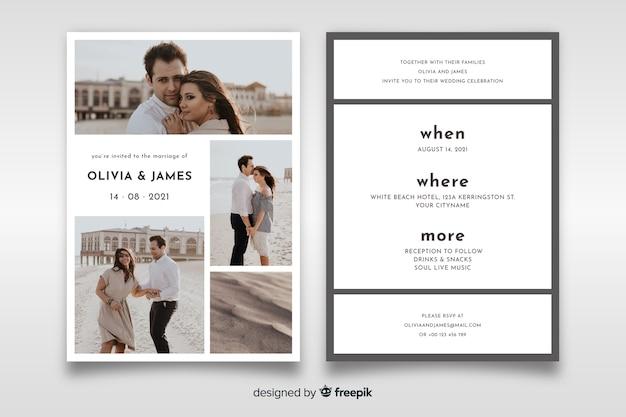 Прекрасное свадебное приглашение с фото-шаблоном Бесплатные векторы