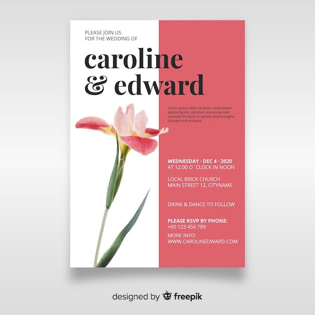 花のテンプレートと美しい結婚式の招待状 無料ベクター