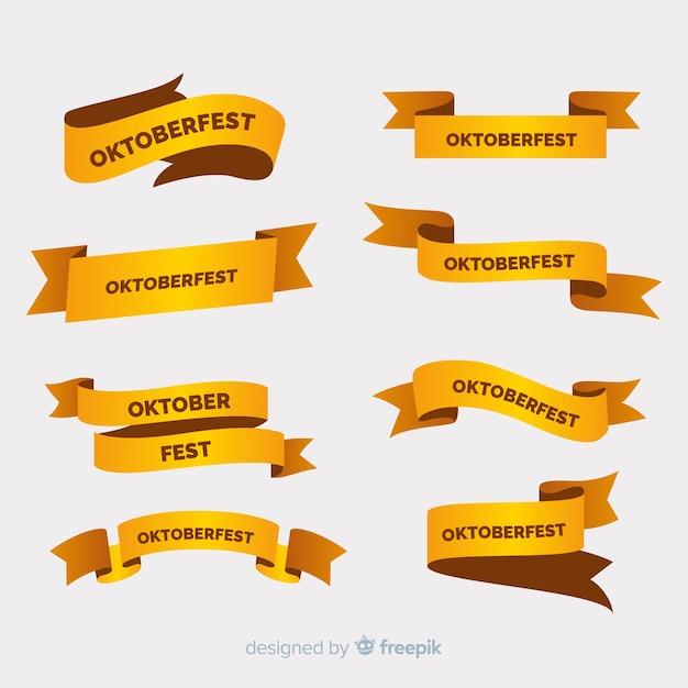黄金色の色合いでフラットオクトーバーフェストリボンコレクション 無料ベクター