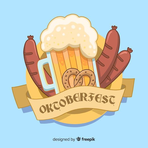 手描きのオクトーバーフェストビールとソーセージ 無料ベクター