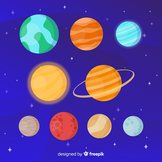 Набор наклеек разных планет Бесплатные векторы