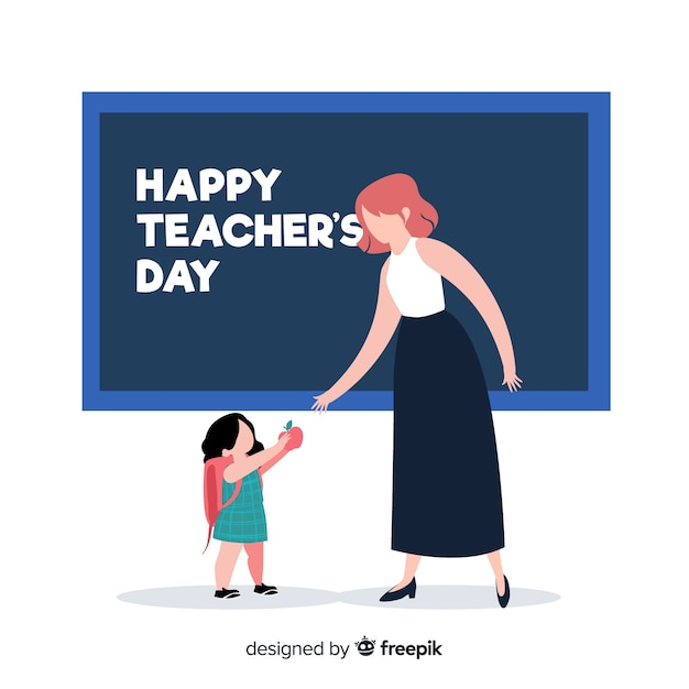 教師と生徒と手描き世界教師の日 無料ベクター
