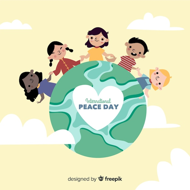 手を繋いでいる子供と手描きの平和の日 無料ベクター