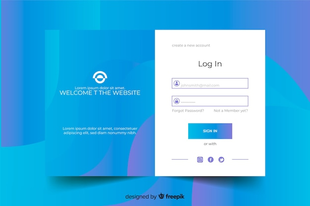 青いログインフォームのあるランディングページ 無料ベクター