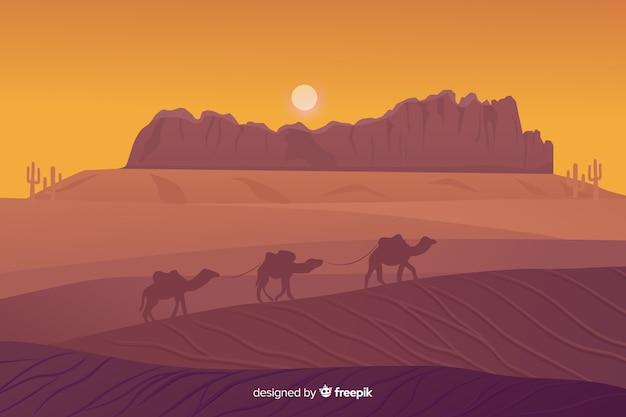 Пустынный пейзаж фон с верблюдами Бесплатные векторы