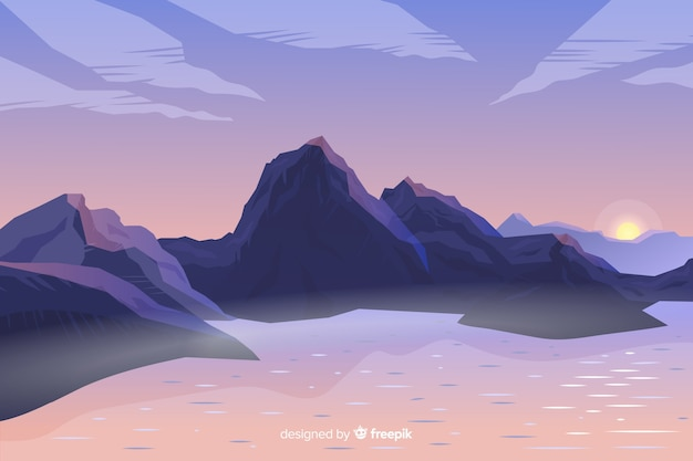 Художественный градиент горы пейзаж Бесплатные векторы
