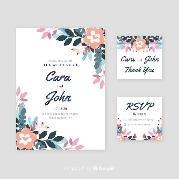 Свадебные приглашения с цветочными элементами Бесплатные векторы