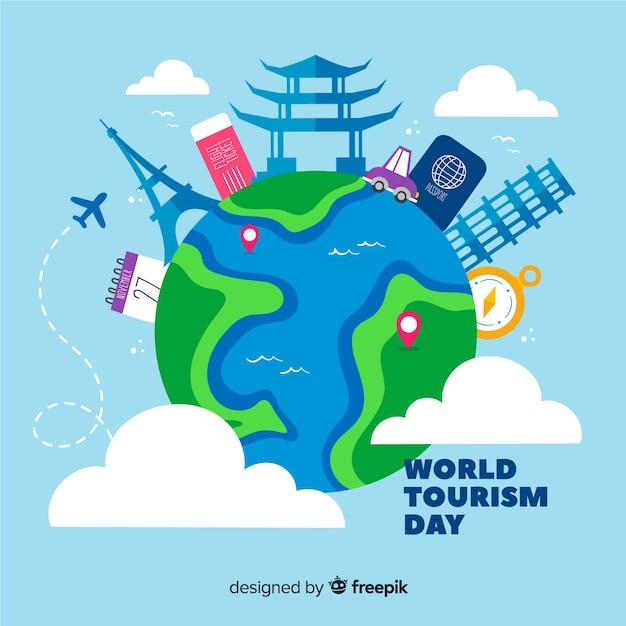 Ручной обращается день туризма с туристическими достопримечательностями Бесплатные векторы