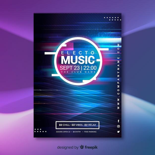 Шаблон плаката абстрактной электронной музыки Бесплатные векторы