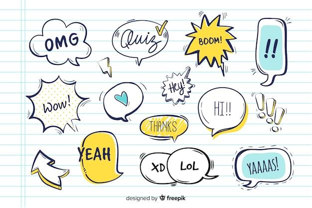 Речи воздушные шары с разными выражениями Бесплатные векторы