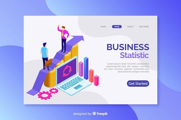 Целевая страница с изометрическими бизнес-графиками Бесплатные векторы