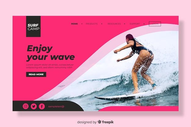 サーフィンの女性のリンク先ページ 無料ベクター