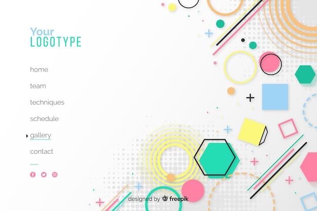 Геометрическая целевая страница с фигурами и белым фоном Бесплатные векторы