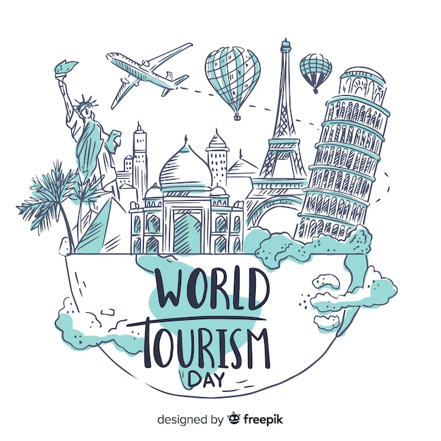 Ручной обращается всемирный день туризма с известными достопримечательностями Бесплатные векторы
