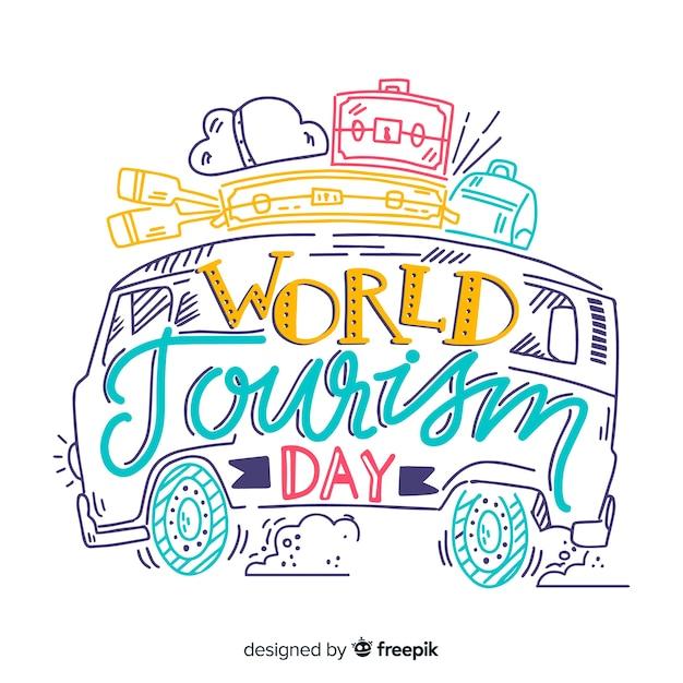 世界観光デーのミニマルなレタリング 無料ベクター