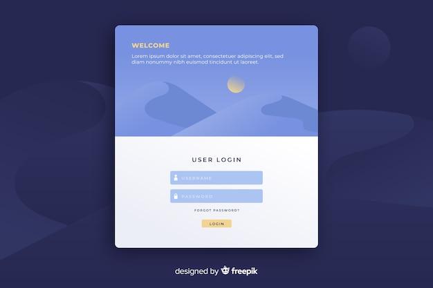 ユーザーログインフォームのあるランディングページ 無料ベクター