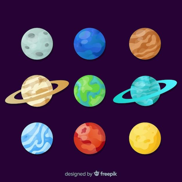 カラフルな太陽系惑星のパック 無料ベクター