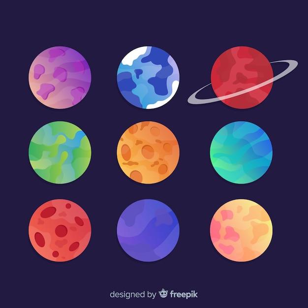 カラフルな太陽系の惑星のコレクション 無料ベクター